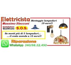 Lampadario e plafoniera installazione 19 euro