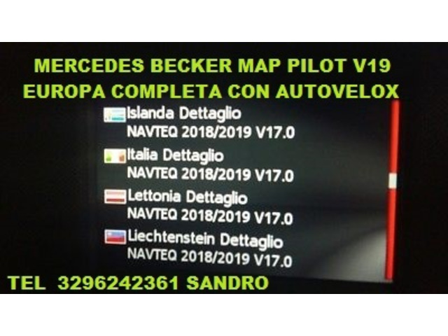 MERCEDES BECKER MAP PILOT V17  AGGIORNAMENTO NAVIGATORE EUROPA 2019 CON AUTOVELOX