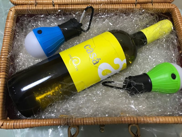 Cestino regalo vino + lampadine Led