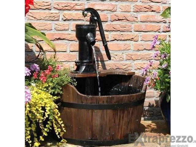 Fontana esterno arredo giardino pompa su tinozza legno for Offerte giardino