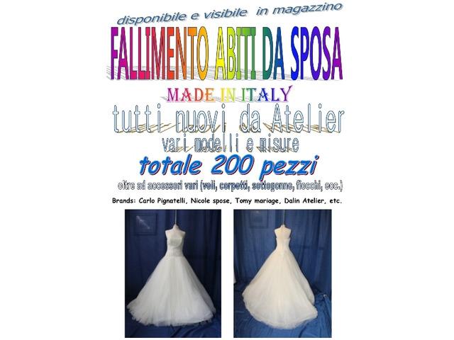 Vendita fallimentare abiti da sposa 200pz